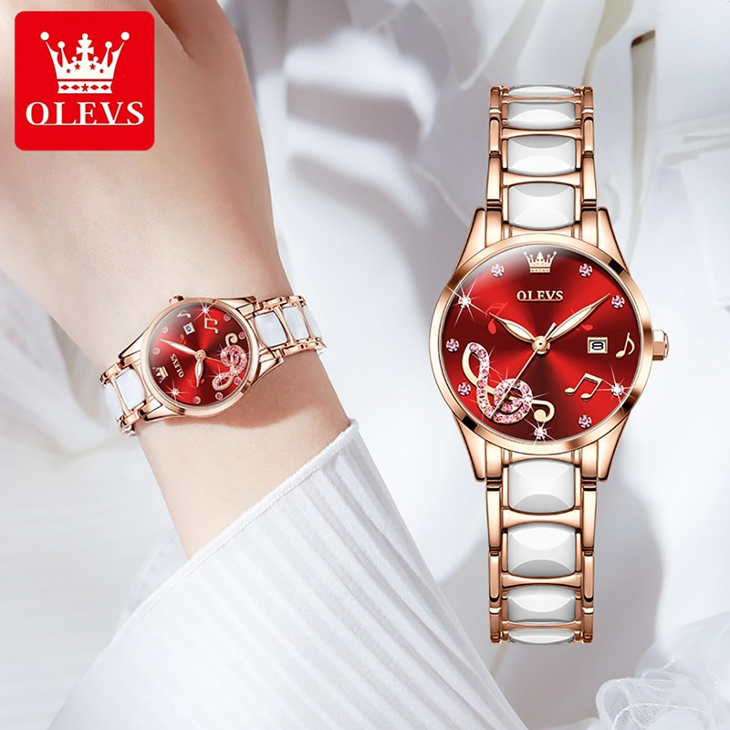 OLEVS New Fashion Wine Red Musical Note Dial Quartz Watch Ladies Stainless Steel Ceramic Strap Luminous Pointer Waterproof Watch enlarge