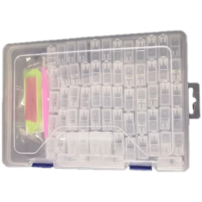64 redes diamante herramientas de pintura Kits de almacenamiento caja de cuentas pendientes de la joyería organizador caja de almacenamiento de 5D accesorios varios conjunto