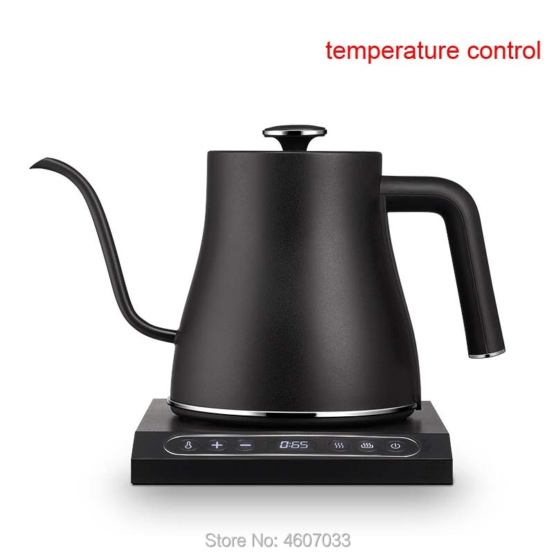 0.8L الفولاذ المقاوم للصدأ غلاية كهربائية مع العزل إبريق قهوة التحكم في درجة الحرارة ثابتة صغيرة Gooseneck فوهة طويلة إبريق الشاي