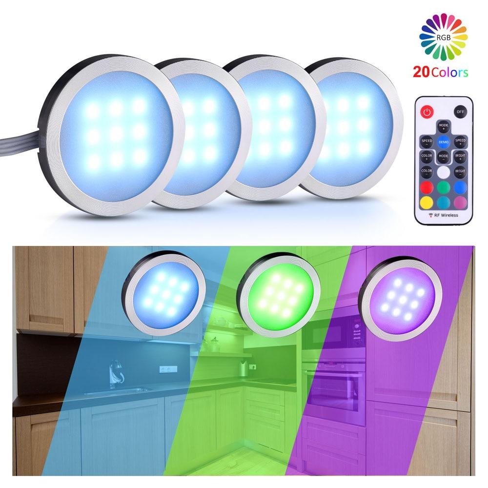 مصباح خزانة LED ، 4/6/8/12 قطعة ، طقم إضاءة ، جهاز تحكم عن بعد RF ، قابل للتعتيم ، لرف المطبخ