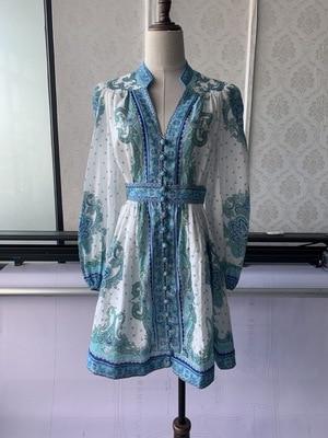 Primavera nuevo vestido mujeres sin mangas Sexy vestido botones patrón espalda descubierta verde vestido mujeres Vintage Mini Vestidos TG