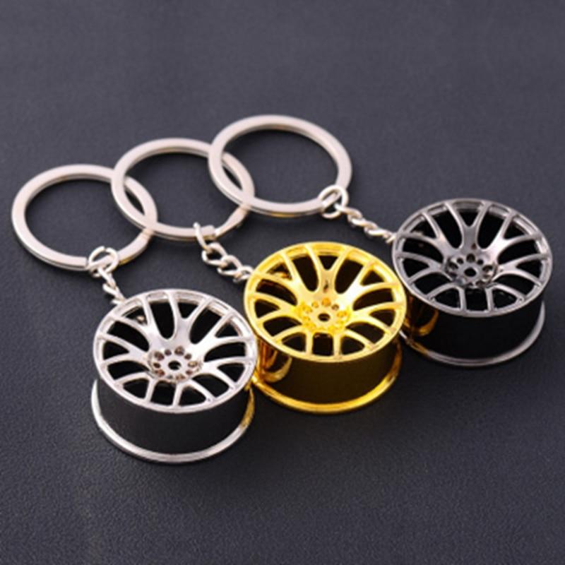 Auto Turbo Hub Keychain Wheel Rim Car Keyring Luxury Zinc Alloy Key Fob Wheel Tire Styling Car Key Chain Keyring For BMW