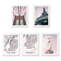 Toile dart mural avec pont de tour  affiche de mode  paysage de ville rose  peinture imprimee  carte nordique  photos pour decoration de maison