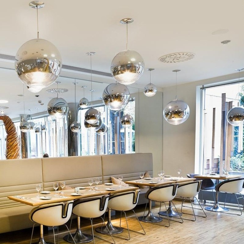 Creative Electroplated Glass Ball Chandelier Nordic Modern Minimalist Restaurant Bar Taiwan Coffee Shop Clothing Single Head E27 enlarge
