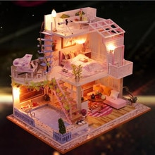 Modern style villa DIY Doll House Wooden doll Houses Miniature dollhouse Furniture Kit Handmade Toys birthday gift for kids P005