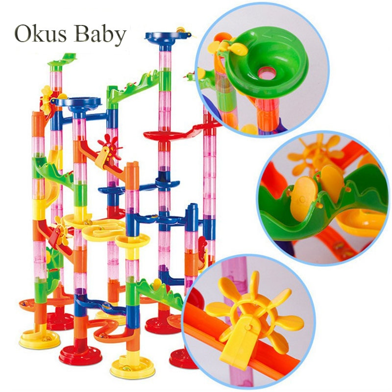 109pcs Set DIY Construction Marble Run Race Track Building Blocks Kids 3D Maze Ball Roll Toys Childr