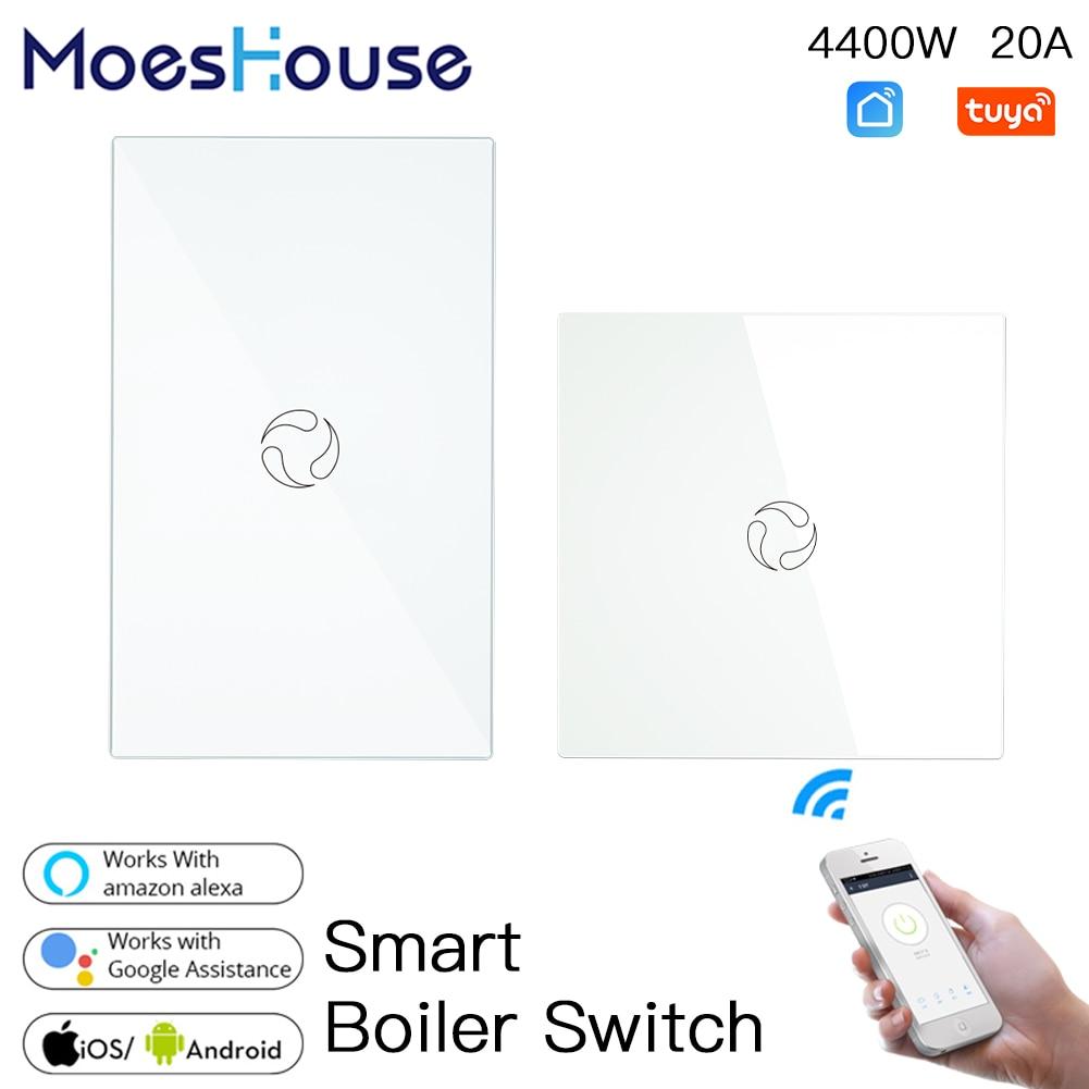 Смарт-переключатель для бойлера, стеклянная панель, Wi-Fi, с дистанционным управлением через приложение, работает с Alexa Google Home