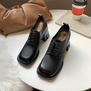Heel fashion big toe shoes thick-soled high heel leather shoes casual shoes fashion shoes high heels retro square non-slip Le X6