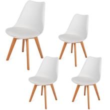 4 قطعة كرسي الطعام منجد الجانب كرسي ، مع خشب الزان الساقين و لينة مبطن قذيفة كرسي التوليب لغرفة الطعام غرفة المعيشة السرير