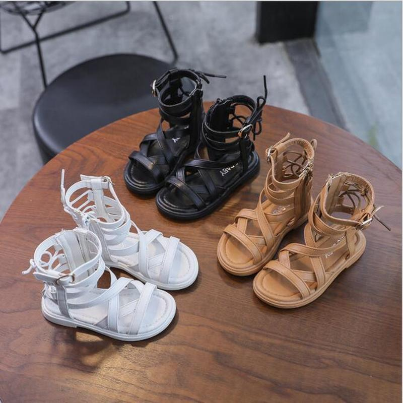Hot sell summer fashion Roman boots High-top girls sandals kids gladiator toddler child high quality shoes