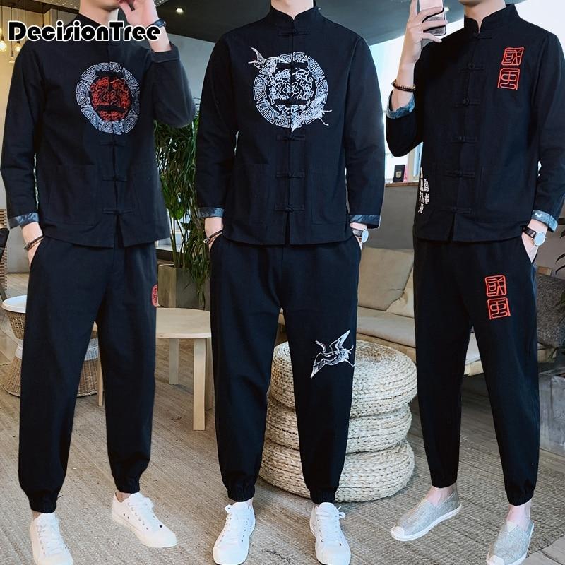 2020 ropa china tradicional para hombres traje tang sólido hombres traje kung fu tai master traje masculino tops chaquetas + Pantalones conjunto