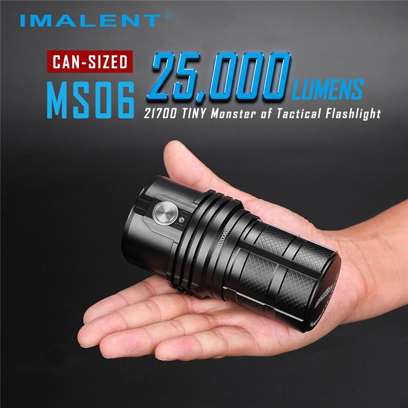 Imalent ms06 lanterna profissional 6 modo 200-25000lm cree xhp lâmpada led recarregável lanterna super brilhante + 3 baterias