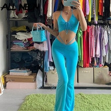 ALLNeon Y2K Streetwear סקסי תחבושת כחול שיתוף-ord חליפות 2000s אופנה שרוך הלטר למעלה גבוהה מותן אבוקה מכנסיים 2 סט חתיכה