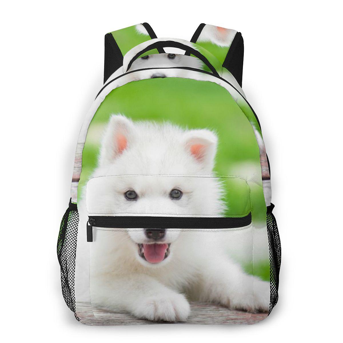 Mochila de moda para mujer, mochila de viaje para hombre, bolso grande para portátil, bolsa de viaje, bolsa de viaje, juegos para cachorros de Husky Siberiano, en el parque
