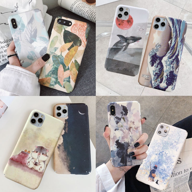 Hard PC Phone Back Case For Xiaomi Mi 8 9 10 Lite 9T Redmi Note 7 8 K20 Pro Art Leaves Comic Cartoon
