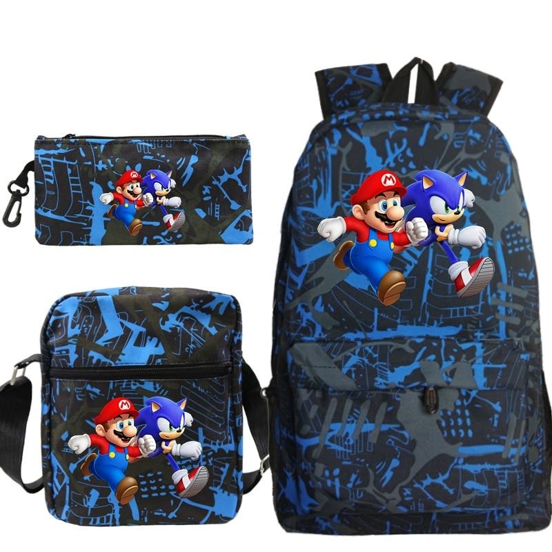 3 unids/set Mario Sonic Mochila para mujer hombre bolso escolar moda viaje bolsa Laptop Mochila con bolso bandolera