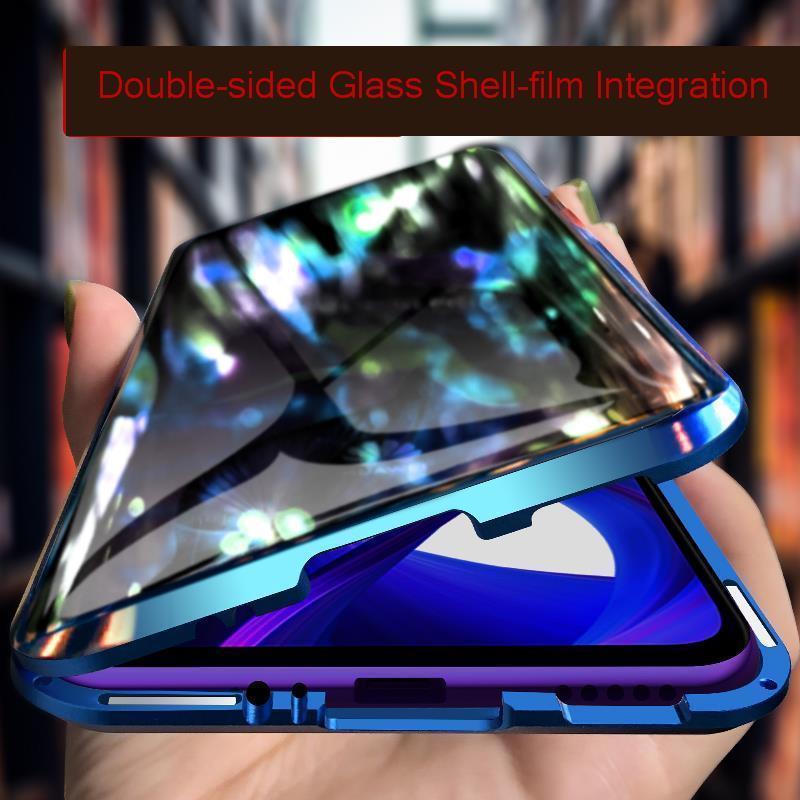 Funda de teléfono magnética completa 360 para Huawei Honor 9x Mate 20 X P20 Pro, Funda de cristal doble, funda protectora de Metal Honor 9X 20 10 8X