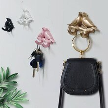 Strongwell Bird Resin Coat Hook Bedroom Door Hooks Wall Seamless Sticky Hook Key Holder Creative Home Wall Hanging Decoration