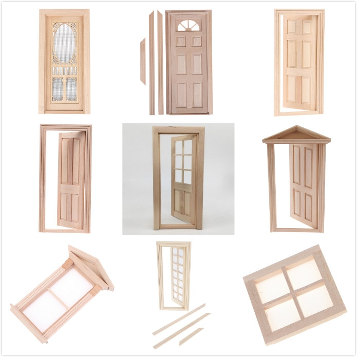 1/12 DIY Wooden Window Door Doll House Accessories Pretend Play Toy For Kids Furniture Simulation Miniatures