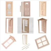 112 diy wooden window door doll house accessories pretend play toy for kids doll house furniture simulation miniatures