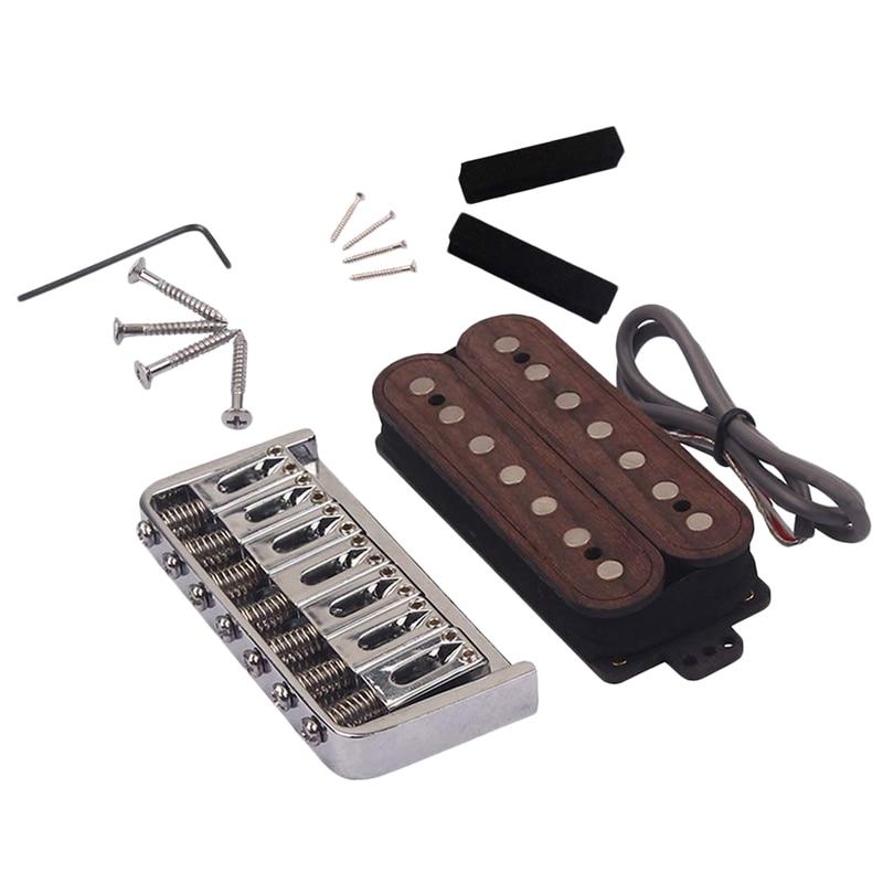 Guitarra humbucker pickup bridge kits 7 cordas de madeira rosa para guitarra elétrica e pedal de aço guitarra