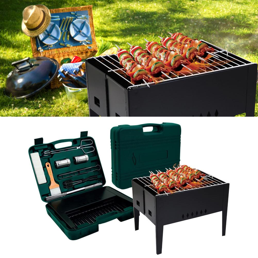 Barbecue Rack Folding Outdoor Grill Set Folding BBQ Grill With Barbecue Accessories Tools Set For Outdoor
