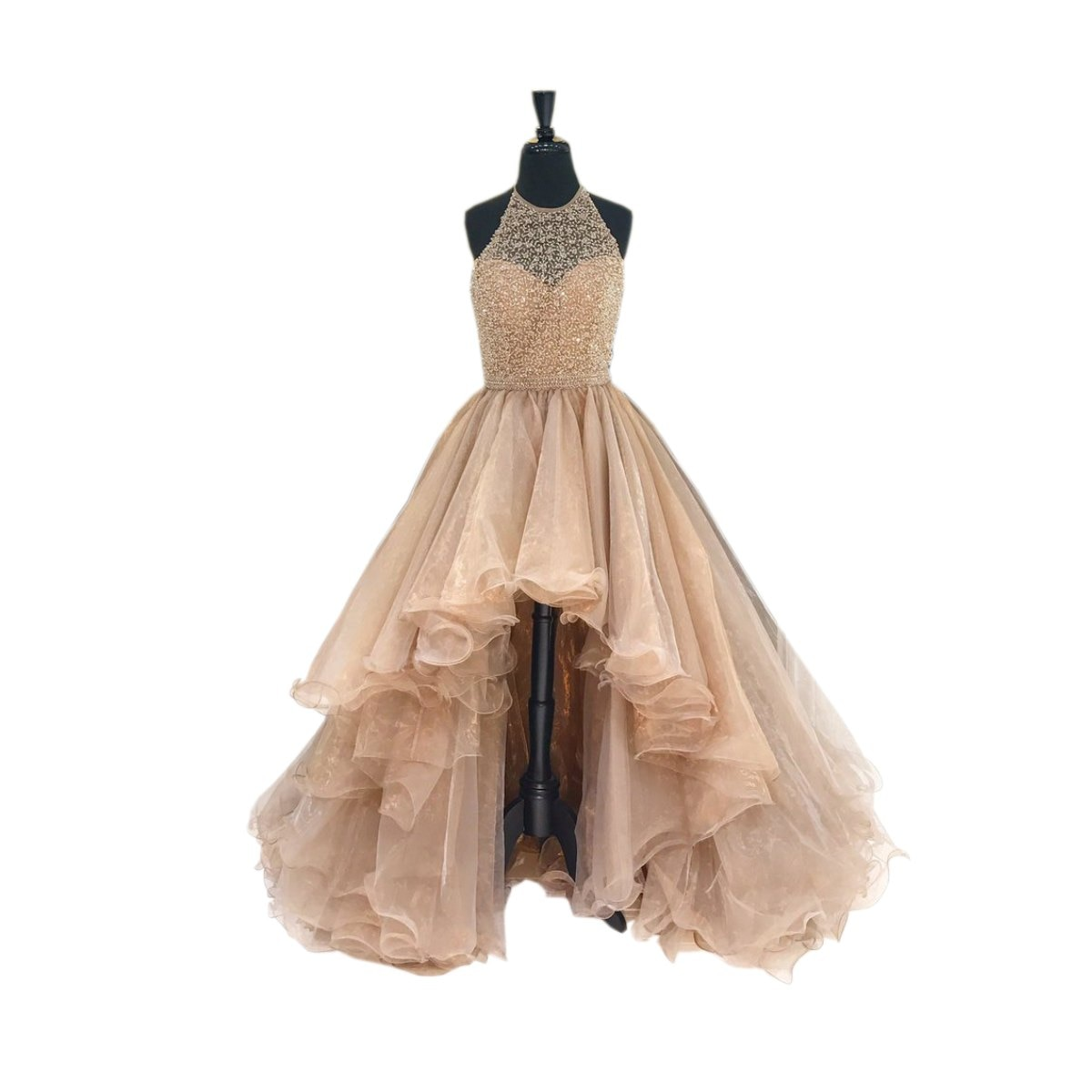 Glitter Champagne Red High Low Prom Homecoming Dresses Halter Backless Organza Beading Sequin Ruched Short Front Long Back