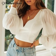 Wedofan femmes chemisier court chemises blanc blouse lanterne à manches longues blouse en mousseline de soie sexy col en v chemises femme hauts 2020 blusas nouveau