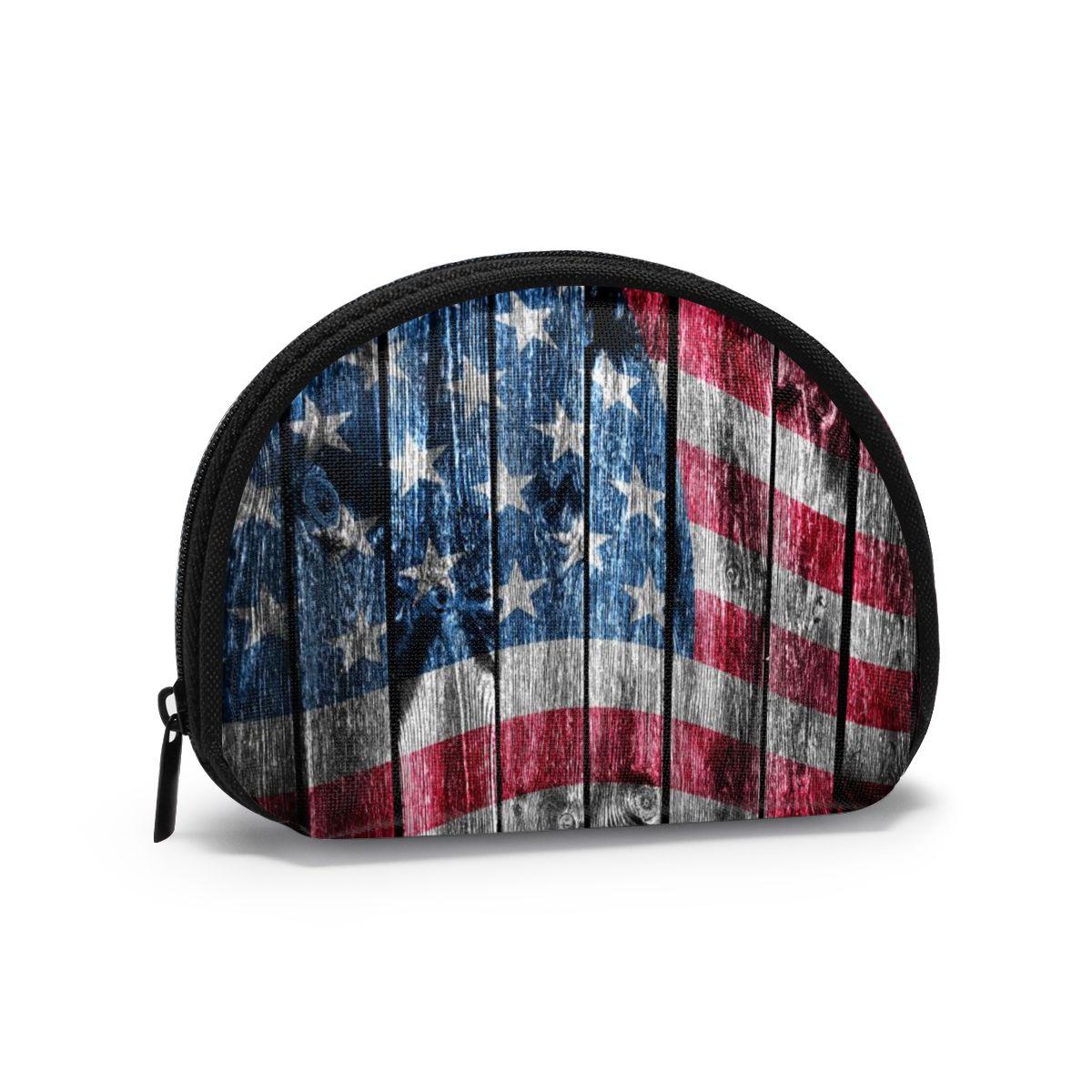 Monedero para mujer, monedero corto para mujer, carteras de moda para tarjeta de mujer, cartera pequeña para mujer, Bandera de madera de EE. UU.