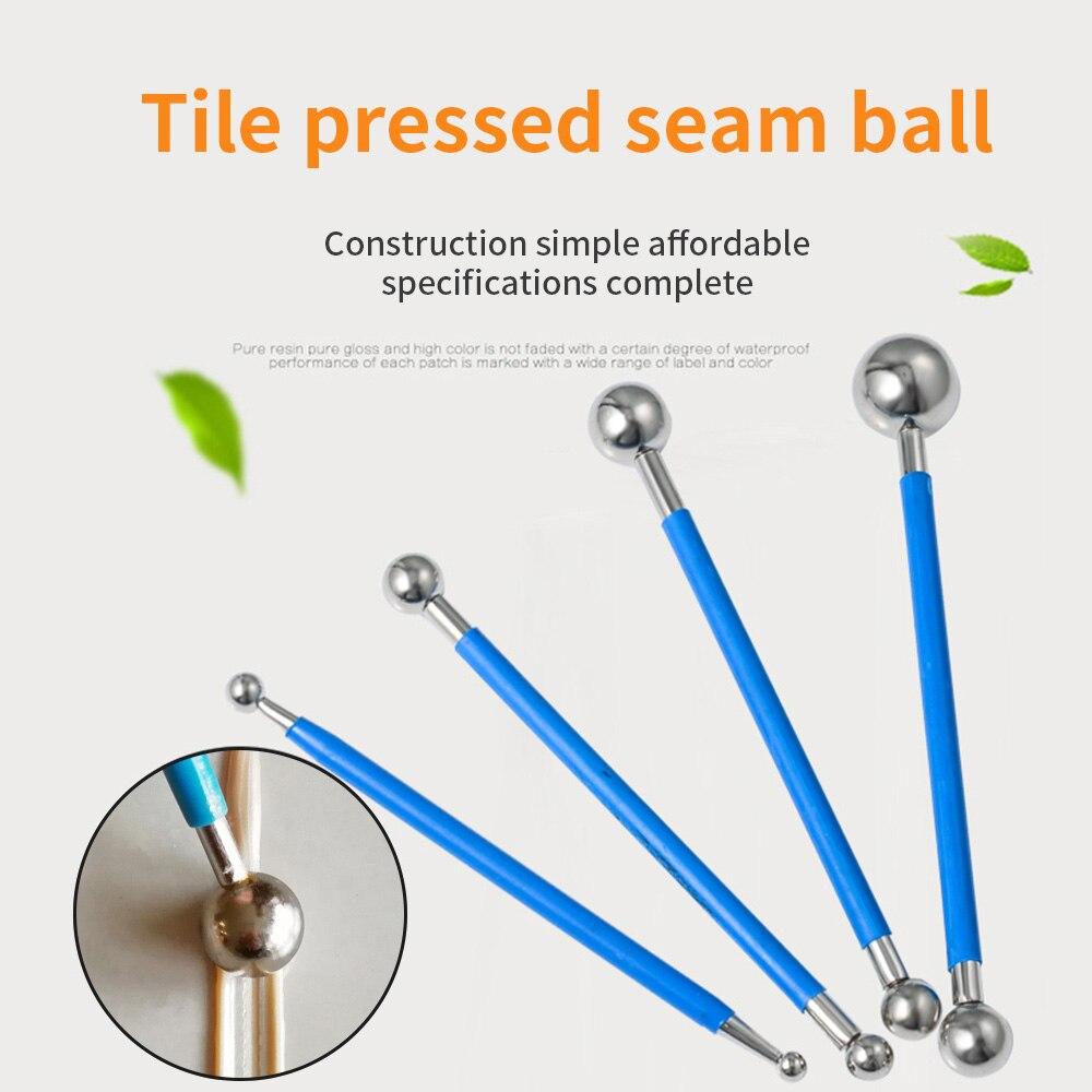 4pcs Ceramic Tile Pressed Ball Double Hole Pressure Seam Steel Ball Ceramic Floor Tile Grout Construction Tools Floor