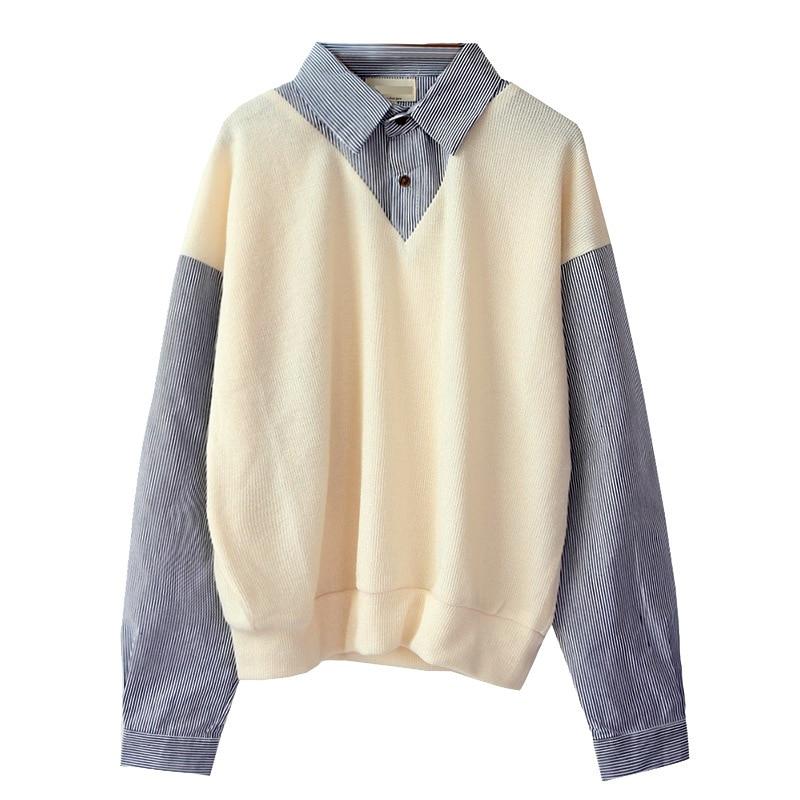 Ewq/roupa masculina falsa duas peças camisola masculina 2020 outono novo bloco de cores coreano moda camisa solta personalidade maré 9y1056