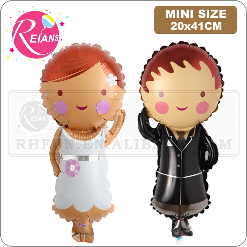 Mini Bride and groom dress foil mylar balloons wedding ceremony party decoration groom bride to be balloons party supplies