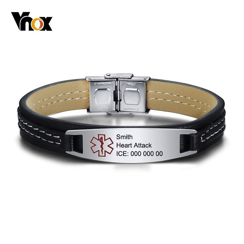 Vnox pulseras de cuero genuino para los hombres ID de alerta médica, brazalete de acero inoxidable de identificación Bar de recordatorio de la banda de muñeca