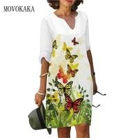 movokaka new half sleeve white dress 2021 elegant vintage casual holiday dresses woman butterfly print vestido party dress women