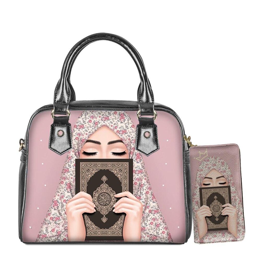Lidar com Bolsa de Ombro Bolsa de Couro Menina Islâmica Muçulmana Olhos Árabe Hijab Rosto Senhora Impressão Crossbody Feminina Casual Mensageiro Carteira