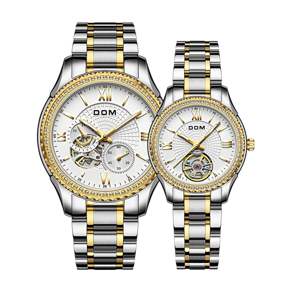 DOM Automatic mechanical watch women's watch luminous waterproof men's watch sport business stainless steel  couple watch