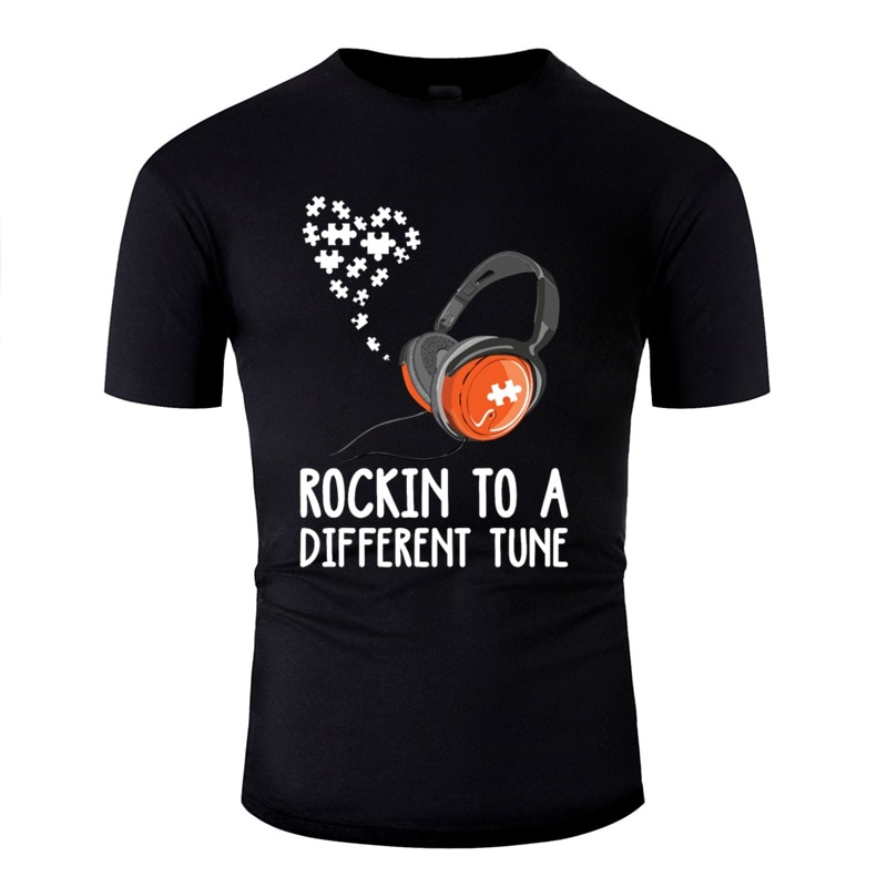 Autismo rockin t-shirt para um design de sintonia diferente camiseta homem novidade adulto tshirts cor sólida manga curta hiphop topos