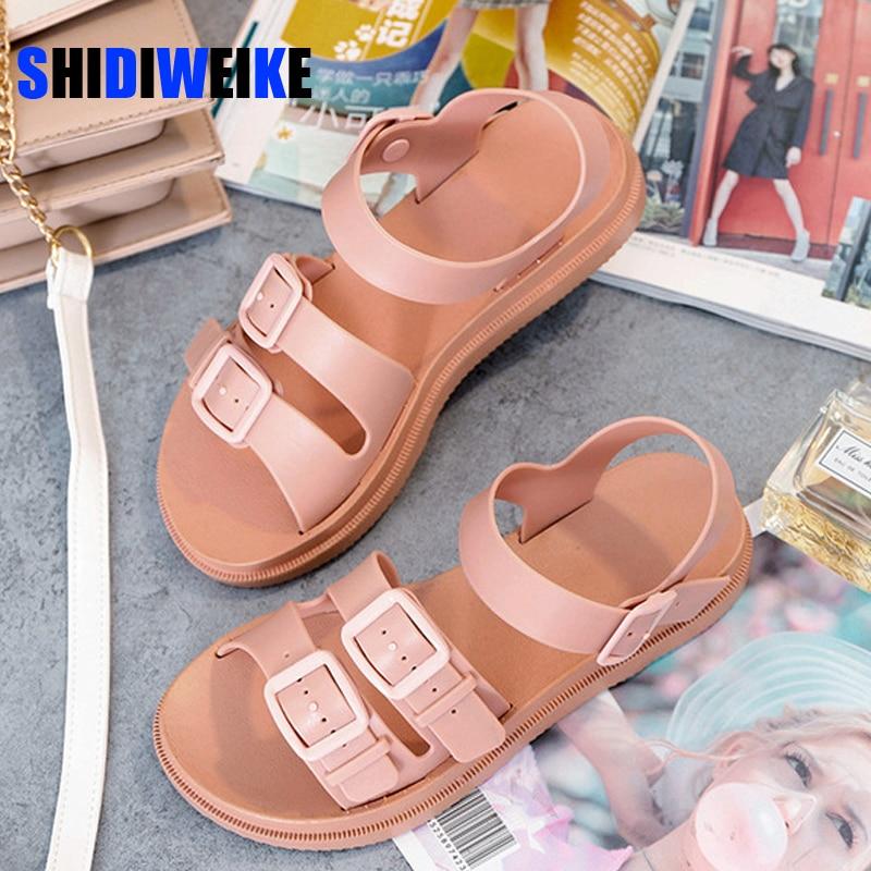 Sandalias planas tipo gladiador con hebilla para mujer, sandalias suaves de gelatina, calzado de mujer de plataforma plana informal, calzado de playa para verano AB647