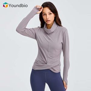 YOUNDBIO 2021 Long Sleeve Sport Shirts Women Fitness High Neck Yoga T-shirt Female Slim Workout Top Autumn Winter Blouses