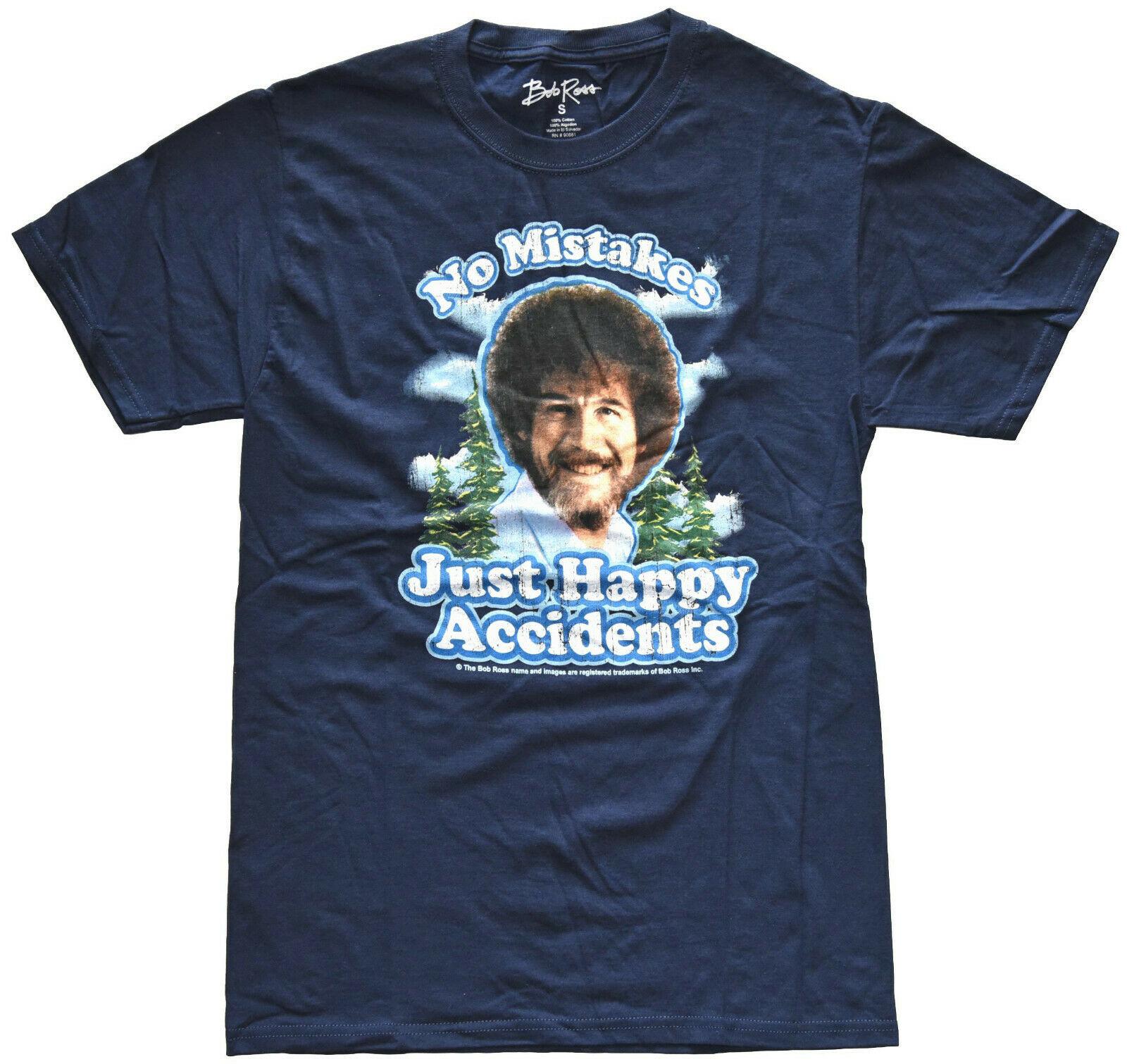 Camiseta para hombre nueva Bob Ross sin errores sólo feliz accidentes desgastados Navy