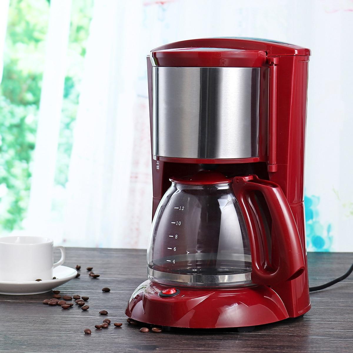 2l máquina de café 220v 8-12 xícara de café espresso gotejamento máquina de café com chaleira de vidro filtro de pó de café anti-gotejamento isolamento bule