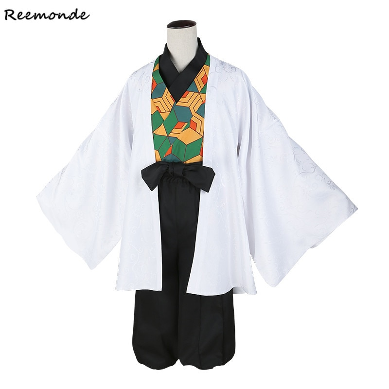Anime Demon Slayer Cosplay  Kimetsu no Yaiba Sabito Kimono Uniforms Costume Shirt Pants Coat Cloak Suits Sabito Wigs Hair Men
