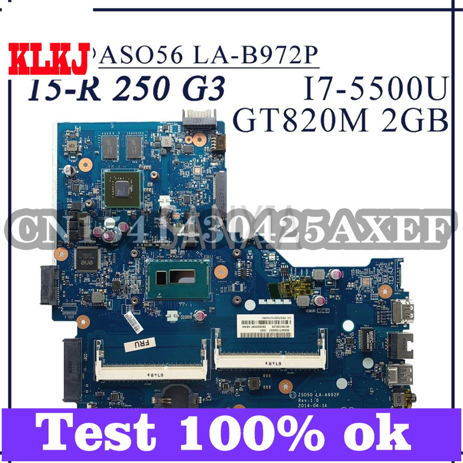KLKJ LA-A992P محمول لوحة رئيسية لأجهزة HP 15-R 250 G3 اللوحة الأصلية I7-5500U GT820M-2GB