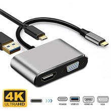 4 In 1 USB Typ C Zu HDMI USB 3,0 VGA PD 4K Adapter Video Audio Converter USB C HDMI Kabel für Laptop Telefon PC Smartphone TV