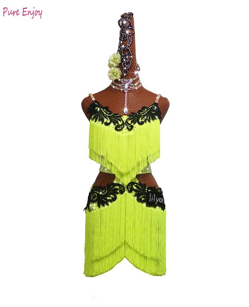 بدلة رقص لاتينية مخصصة لمسابقات الرقص, بدلة رقص لاتينية بدون أكمام مصنوعة حسب الطلب ، فستان رقص أخضر فاتح مزين بأحجار الراين