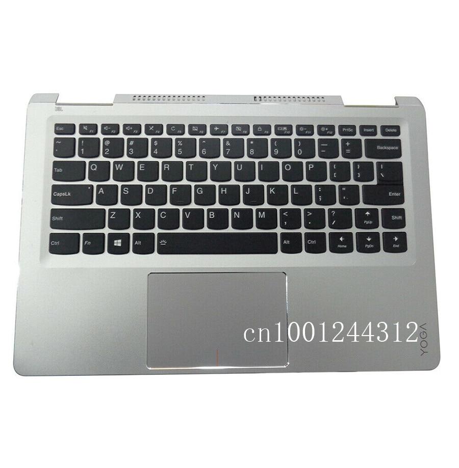 غطاء علوي لجهاز Lenovo Yoga 710-14 ، مسند راحة اليد الفضي مع لوحة اللمس الخلفية ، غطاء لوحة المفاتيح الأمريكية ، جديد ، أصلي ، 710-14IKB 710-14ISK