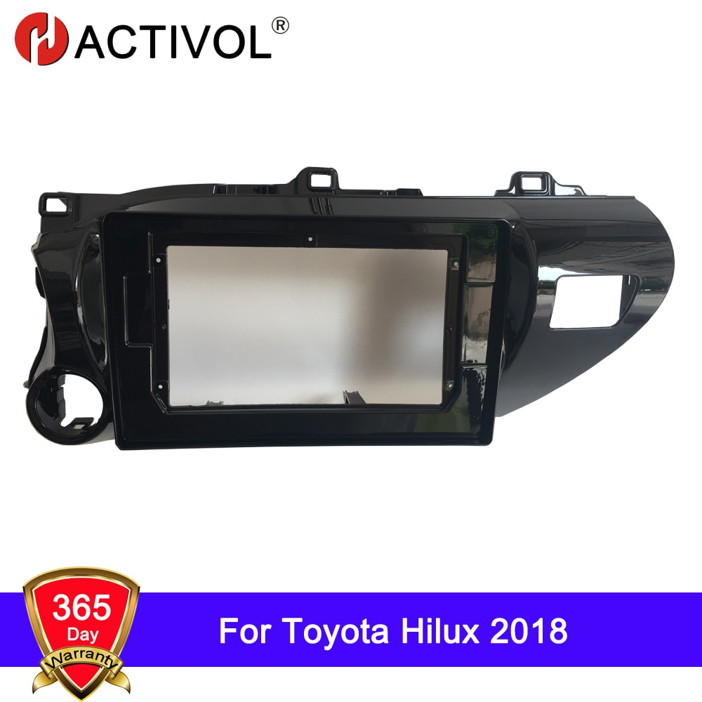 HACTIVOL 2 Din Car Radio placa frontal marco para Toyota Hilux 2018 coche DVD GPS Navi reproductor panel kit de montaje de panel Ajuste de bisel