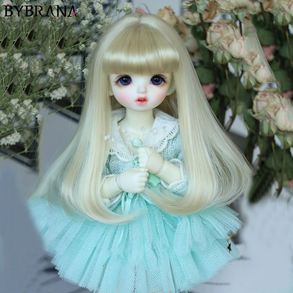 Bybrana BJD muñeca 1/3 1/4 1/6 1/8 Peluca de fibra de alta temperatura Pelo Rizado largo de flor de pera