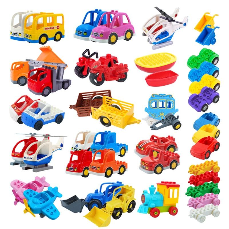 Модель автомобиля с прицепом, большой конструктор, автомобильный аксессуар, совместим с классическими сборными блоками, детские игрушки сд...
