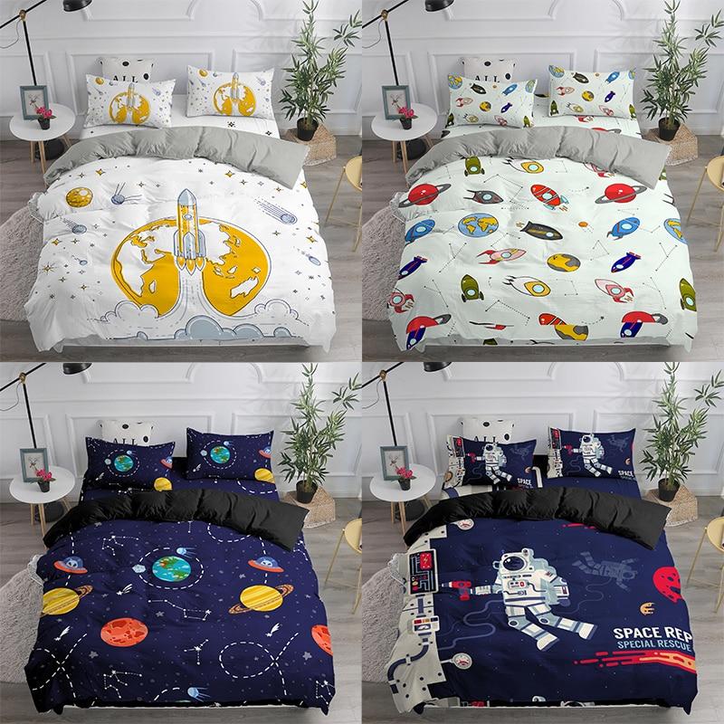 طقم أغطية سرير مطبوع عليه كوكب الفضاء ، مجرة كرتونية لطيفة ، غطاء لحاف رائد فضاء 90x190 للأطفال ، مكوك فضاء مزدوج